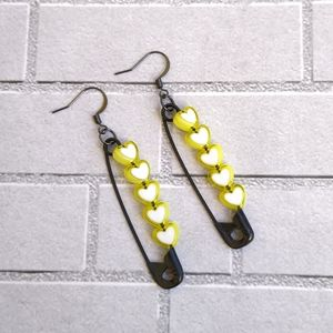 """💛Black 2"""" safety pin earrings with Yellow hearts"""